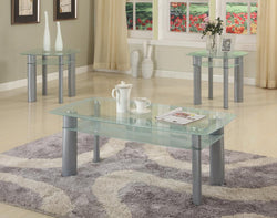 3322W 3Pc White Edge Glass Top Table Set