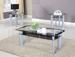 3322 3Pc Black Edge Glass Top Table Set