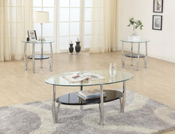 3326 3Pc Glass Top C/E Table Set