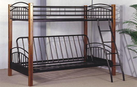 WOOD/METAL TWIN/FUTON BUNK BED