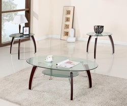 3302 3Pc Cherry Glass C/E Table Set