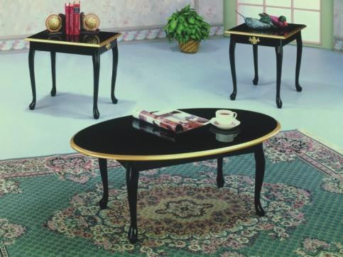 3303K 3Pc Black Queen Anne C/E Table Set