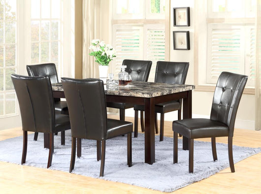 3112 Marble Topped Dark Brown Dining Set