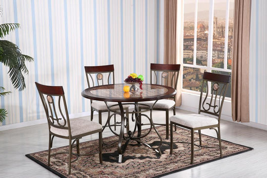 3168 Wood With Faux Marble Dining Table Set