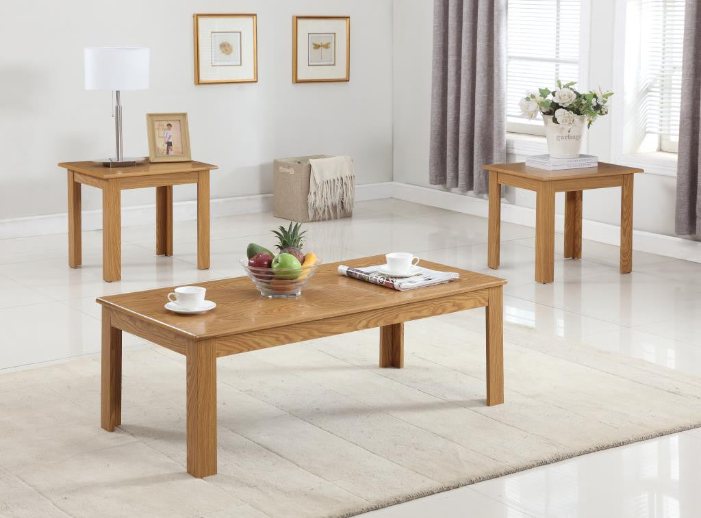 3306OAK 3Pc Oak Parquet C/E Table Set