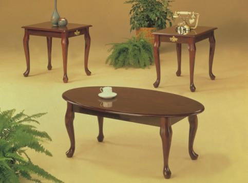 3303C 3Pc Queen Anne C/E Table Set (Cherry)