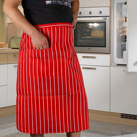 Striped Kitchen Apron With Pockets