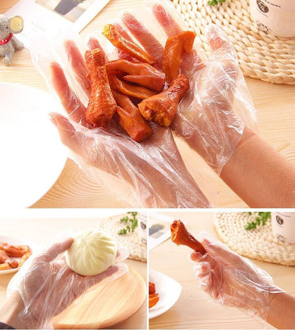 100x Disposable  Plastic Clear Gloves