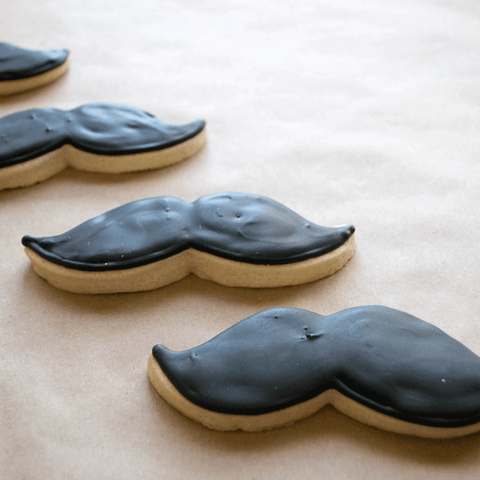 Mustache Frosted Sugar Cookies