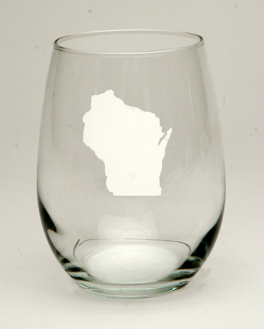 Wisconsin Heart Wine Glass