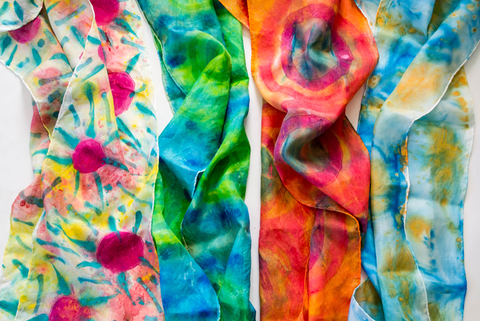 colorful hand-painted scarves