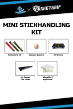 Load image into Gallery viewer, MINI STICKHANDLING KIT - MY ENEMY+MY PASSER ONE TIMER+MY PUZZLE 18+12 PCS.WOODEN BALLS+3x RocketGrips