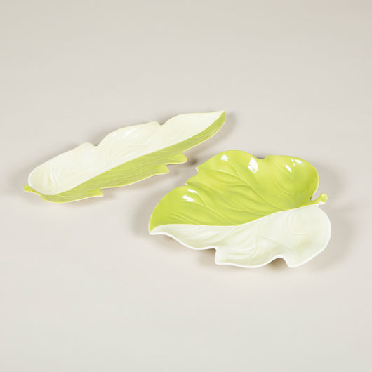 Two green glazed leaf-shaped Carlton ware plates. £180.00 each.