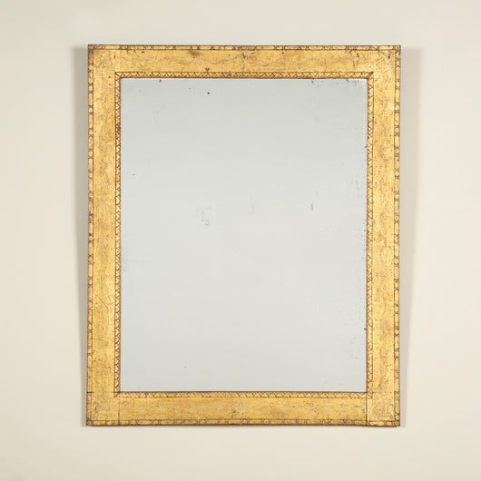 A rectangular mirror with a flat gilt and painted frame, French 19th century, with an associated mirror plate.