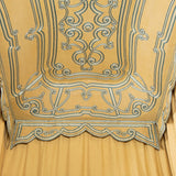An early 18th century Italian bed tester covered in blue-braided yellow linen with agave finials, the replacement head curtains and base valance with original braid re-applied. New hand-made mattress and bed base.