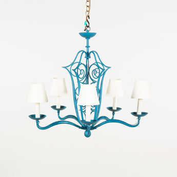 A 1950's French iron cage chandelier with five arms and spiral decoration. Later blue paintwork, rewired.