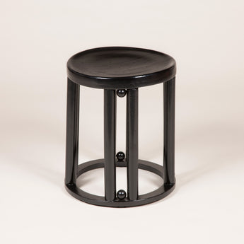 A Fledermaus stool by Josef Hoffmann, Vienna circa 1900 with later ebonised finish.