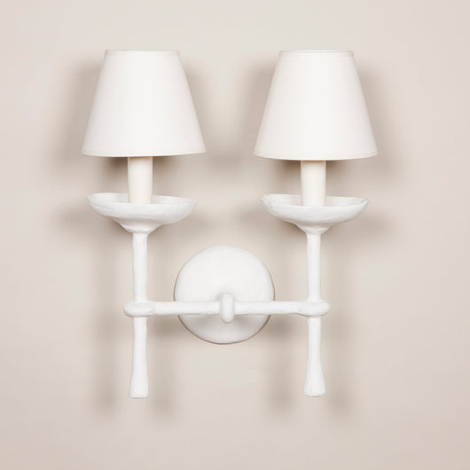 a plaster coated two arm wall light made to order in the usa