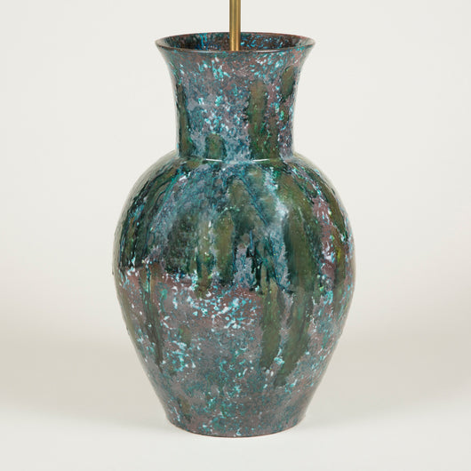 A beautifully proportioned green and lilac glazed pottery vase, mid 20th century, wired as a lamp.