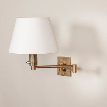 Billy Baldwin Wall Light. Made to order, available in Brass - £750.00 + vat, or Nickel - £880.00 +vat, Lacquered Brass £835.00 +vat, Bronzed £835.00 +vat. Other finishes can be quoted for. Price includes a card shade.