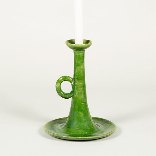 A large green-glazed Biot pottery candlestick, mid-20th century wired as a lamp