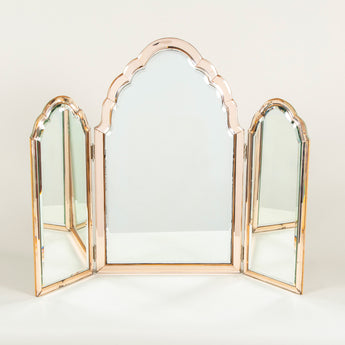 A Venetian glass triptych mirror with rose coloured glass borders. Circa 1930's.