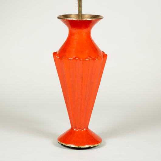 A mid-20th century Indian facetted papier mache vase, re-lacquered red and wired as a lamp.