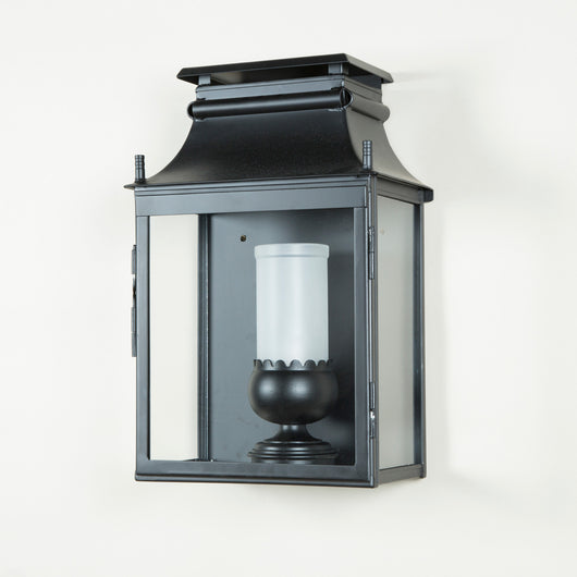 Exterior wall lantern - supplied to a standard black or dark green finish. £1,260.00 + vat. Gilt details or bespoke paintwork can be quoted for.