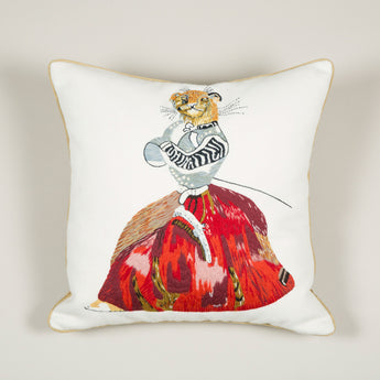 A needlepoint cushion of a lioness in a dress inspired by Nancy Lancaster's tablecloth at Ditchley depicting animals from J.J. Grandville fable 'Scenes de la vie privees et publiques des animaux'. £650.00 plus vat.