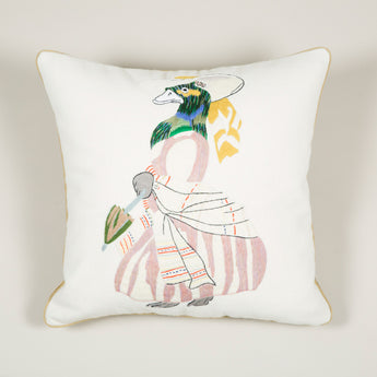 A needlepoint cushion of a duck in a dress inspired by Nancy Lancaster's tablecloth at Ditchley depicting animals from J.J. Grandville fable 'Scenes de la vie privees et publiques des animaux'. £650.00 plus vat.