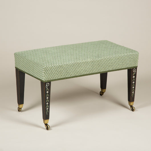 A Regency painted stool with upholstered seat and square section legs with bellflower decoration. Circa 1800, original paintwork.