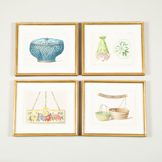 A set of eight prints from 'Penelope's Web'; depicting miscellaneous subject matter. Early 19th century Dutch, re-framed.