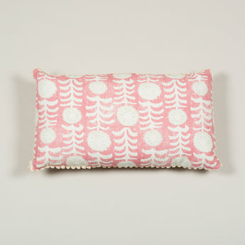 Two rectangular cushions made up in a pink printed fabric trimmed with a loop fringe. £446.00 each + vat.