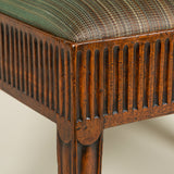 An unusual George III mahogany rectangular stool with an upholstered drop-in seat and wide fluted freize. Circa 1780.