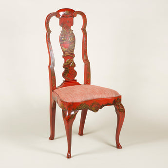 A pair of early 20th century Queen Anne style side chairs with red lacquer decoration.