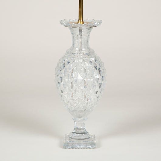 A cut-glass vase, possibly Waterford, 20th cent. Wired as a lamp.