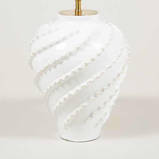 A 1940's white pottery vase with spiral crimped decoration. By Emile Tessier. Wired as a lamp.