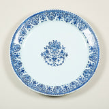 A large round blue and white French faience charger. Rouen, first quarter of the 18th century.