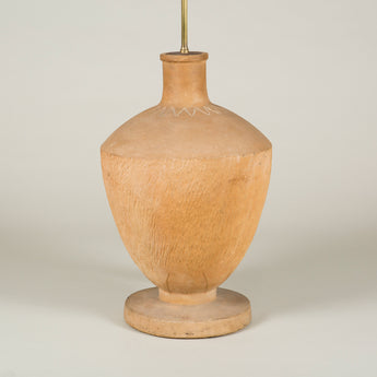 A large French stoneware vase with incised zigzag decoration round its neck, wired as a lamp.