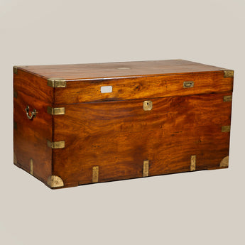 An exceptionally large colonial brass-mounted camphorwood trunk, late 19th century.