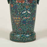A pair of 19th century Japanese cloisonne metal vases with handles, wired as lamps.