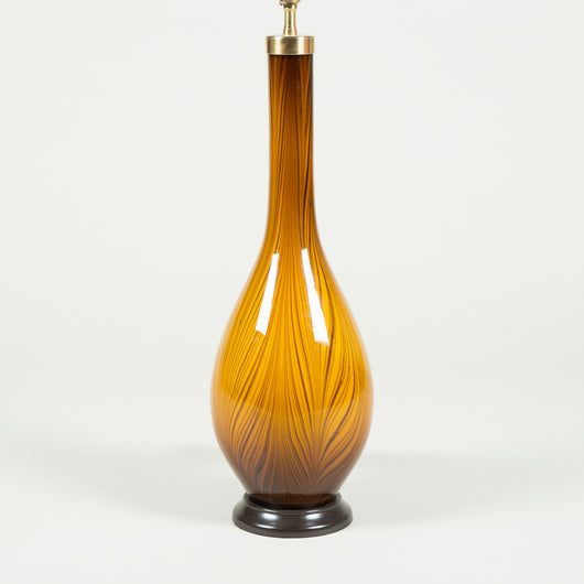 A pair of Murano glass flask-shape vases wired as lamps. Mid-20th century.