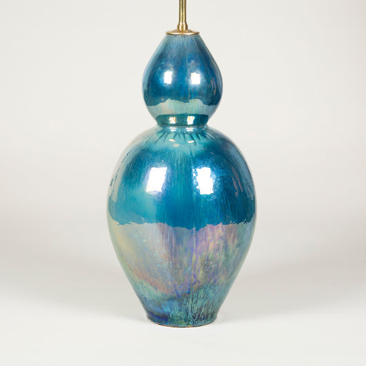 A large blue lustre glazed double gourd shaped vase, converted to a lamp. 20th century.