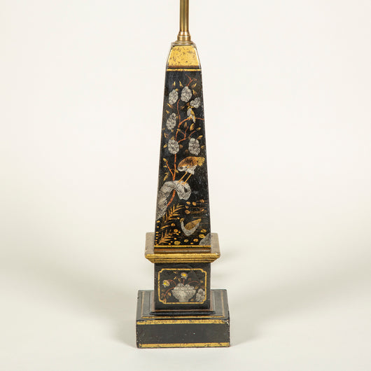 A pair of 19th C. black and gilt japanned wooden obelisks, possibly French, now wired as lamps.