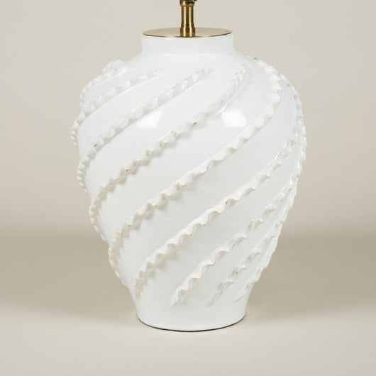 A 1940's white pottery vase with helix decoration. By Emile Tessier. Wired as a lamp.