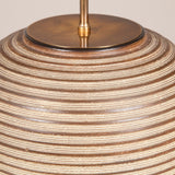 A mid-20th century ovoid pottery vase ringed with concentric brown ridges, now wired as a lamp