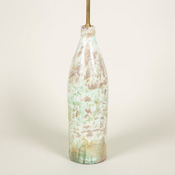 A mid-20th century French bottle-shaped vase with mottled green glaze, now wired as a lamp.