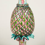 A 20th century pottery pineapple vase on a square base with painted polychrome decoration, wired as a lamp.