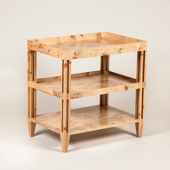 The 'Theodore' three-tier table. This example in pippy oak £3,800.00. Made to order in any wood or finish. POA.