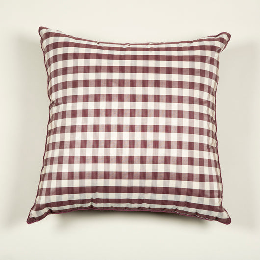"A pair of 21"" square cushions made up in a lilac silk check fabric."